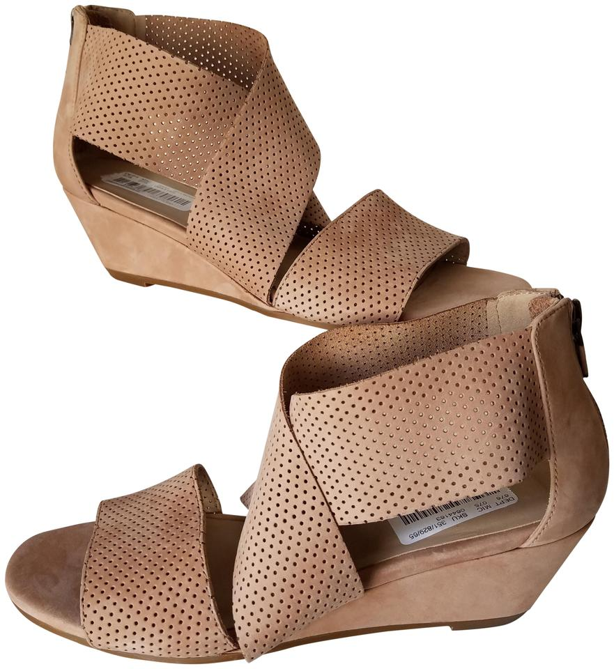 0dd9a7e43566 Eileen Fisher Wheat Womens Perforated Suede Low Wedge Kes 2 Sandals ...