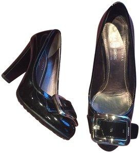 The Original Car Shoe Patent Leather Buckle Silver Prada black Pumps