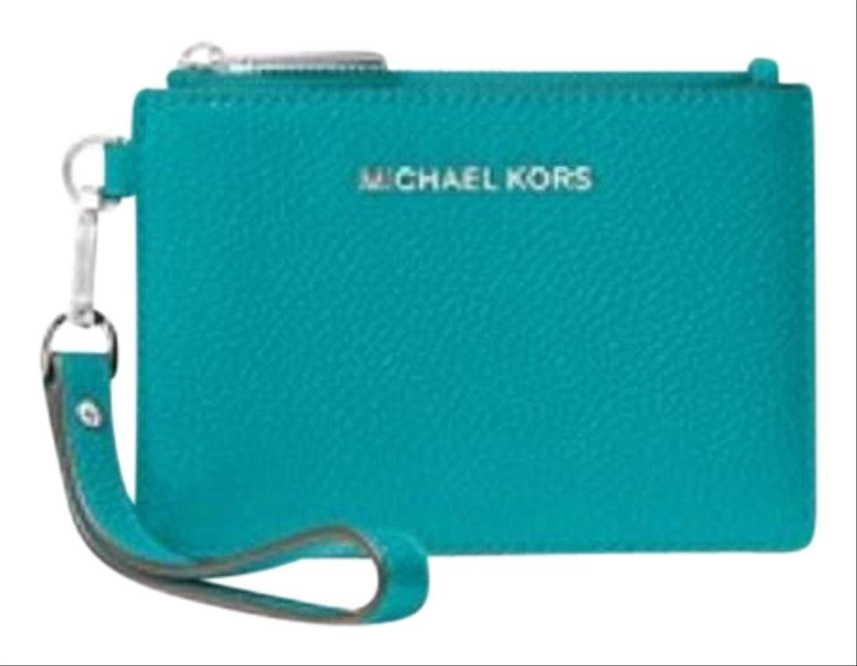 5cb4ade36f48ac Michael Kors Turquoise Mercer Leather Coin Purse Wallet - Tradesy