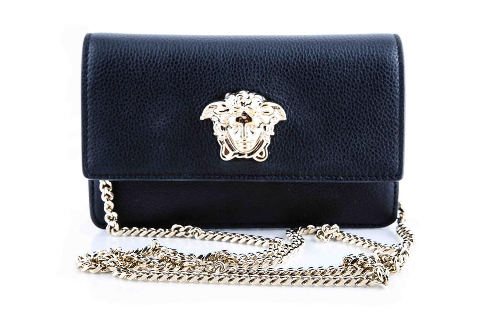 33b50f84be Versace Evening Bag Palazzo with Chain Black Calfskin Leather Clutch 7% off  retail