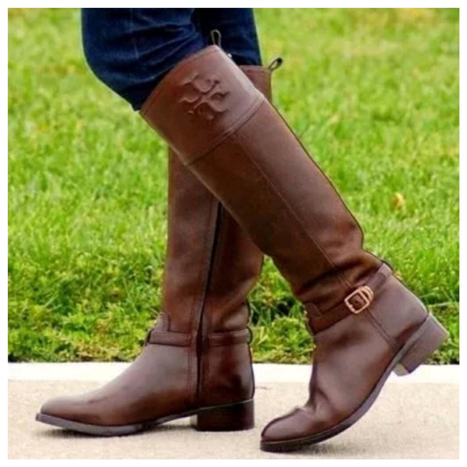 Tory Burch Brown T Simone Knee Embossed Logo Leather Tall Knee Simone High Riding Boots/Booties a04dff