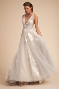 BHLDN Silver Polyester with Polyester Lining Watters Hearst Gown In Modern Wedding Dress Size 4 (S)