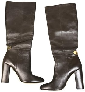 Ava & Aiden Heeled Leather Gold Detail Brown Boots