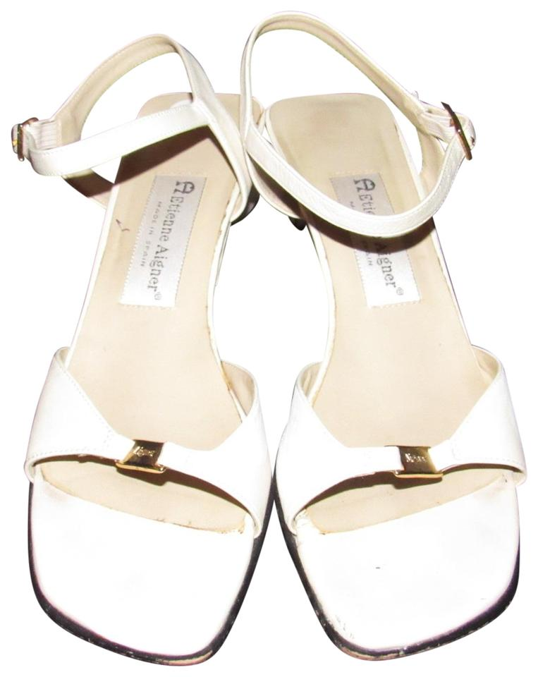 66a53e680e Etienne Aigner Dressy Or Casual Excellent Condition Classic Style white  leather with gold accents Sandals Image ...