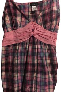 Macy's Top pink plaid