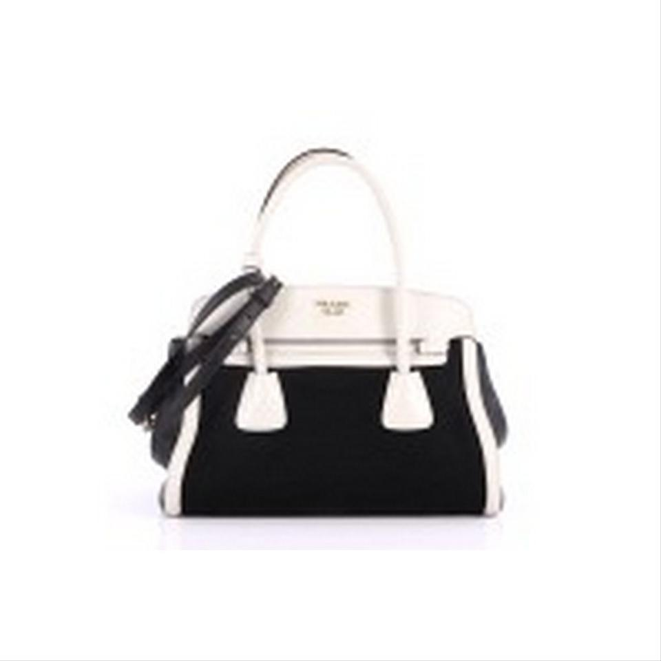 b07f57ff1663 Prada Frame Tote Canvas and Saffiano White Leather Satchel - Tradesy