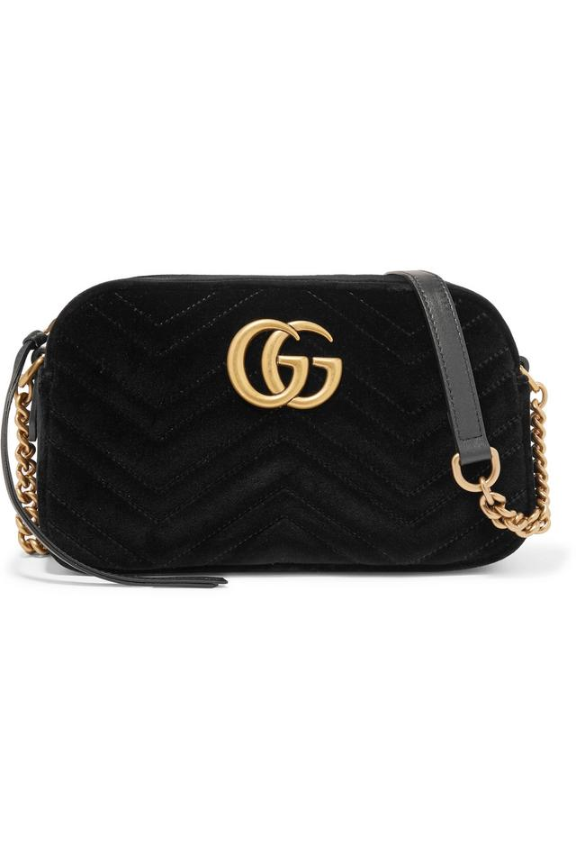 25d9a7b6f75 Gucci Marmont Gg Small Black Velvet Shoulder Bag - Tradesy