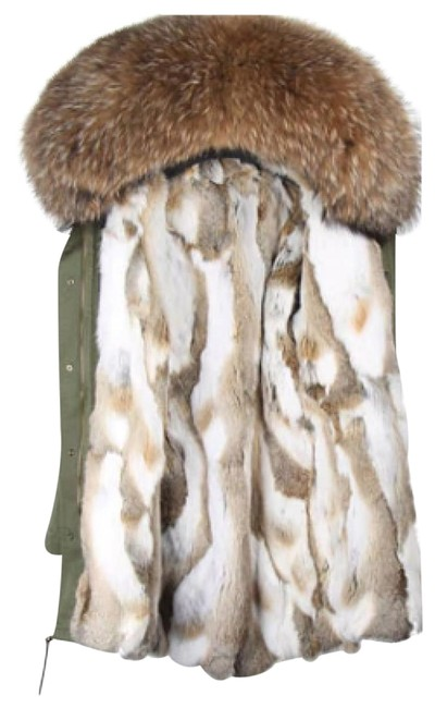 Item - Olive Green Parka with Rabbit Fur Lining Real Coat Size 8 (M)