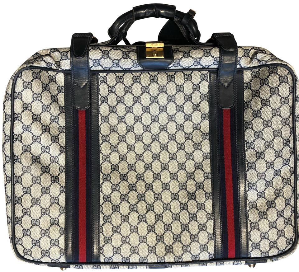 3d5ab5ee7 Gucci Vintage Suitcase Blue and White Logo Weekend/Travel Bag - Tradesy