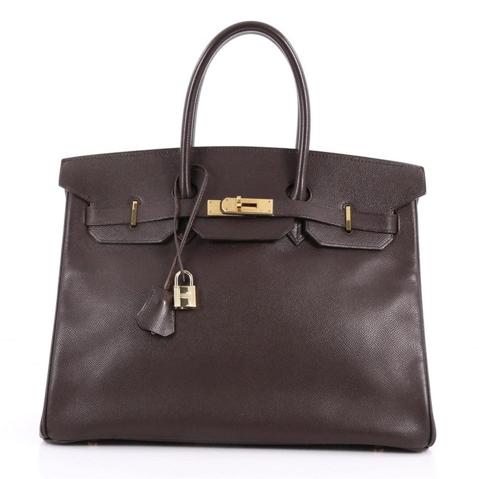 27df39129cdfc Hermès Birkin Handbag Ebene Courchevel with Gold Hardware 35 Brown ...