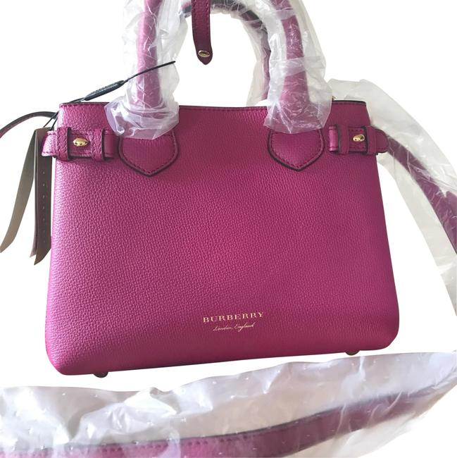 Burberry Tote Bag House Check Derby Brilliant Fuchsia Pink Leather Satchel Burberry Tote Bag House Check Derby Brilliant Fuchsia Pink Leather Satchel Image 1