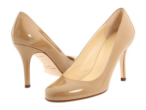 Kate Spade Patent Leather Round Toe Leather Glossy New York Nude Beige Tan Natural Pumps