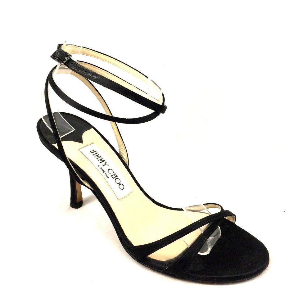2aad6c394d2cf9 Jimmy Choo Black Juliet Satin Ankle Strap Wraparound Strappy Sandals ...