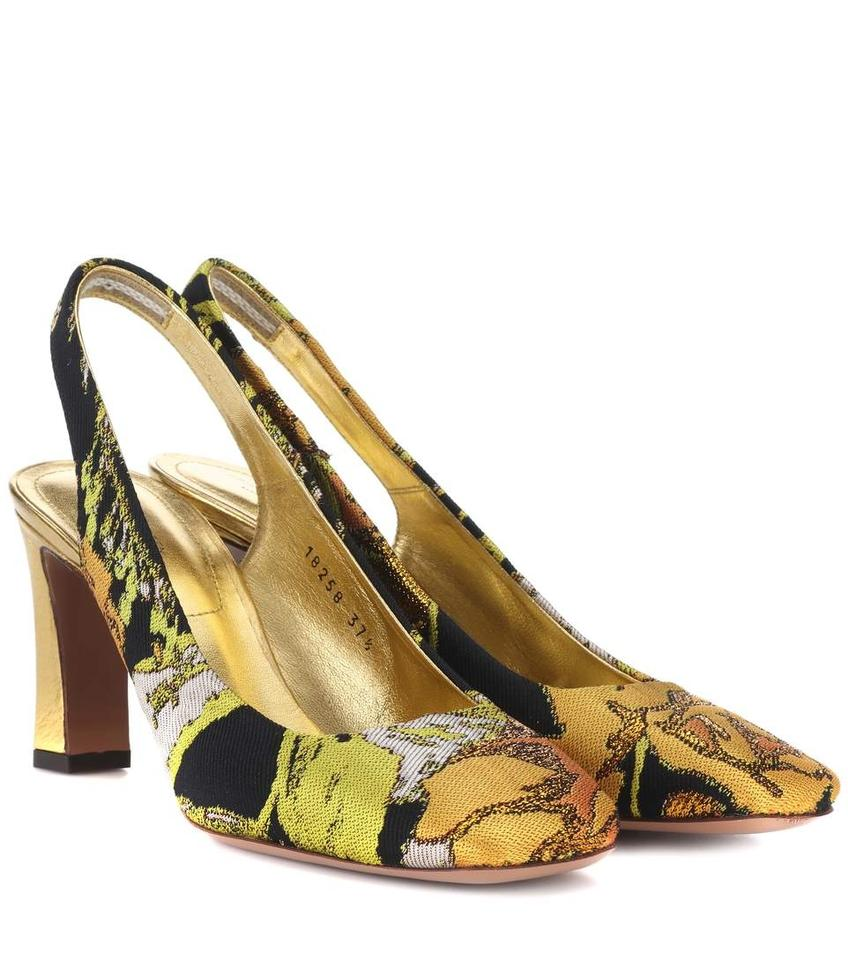 5eeaa60bc3e906 Dries van Noten Heel Lamb Leather Trim Leather Insole Made In Italy  Gold Floral Pumps ...