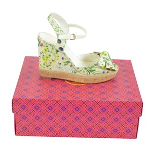 Tory Burch Buckle Strap 8 Espadrille Watercolor botanical print/ Ivory Wedges