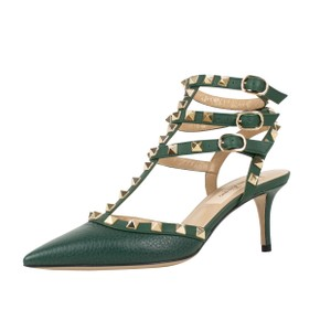 Valentino Rockstudded Pebbled Leather Green Pumps