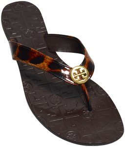 Tory Burch Flip Flops Leather Patent Leather Cheetah Print/Brown Flats