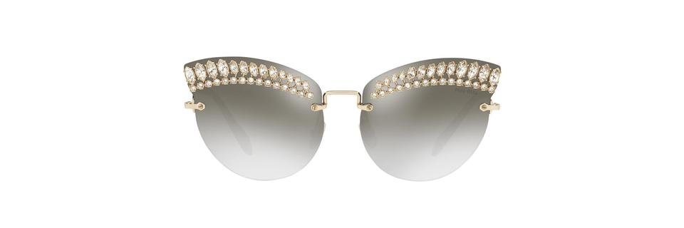 8c89c4660f5 Miu Miu Silver New Smu 58ts Scenique Oversized Crystal Embellished Cat Eye  Sunglasses