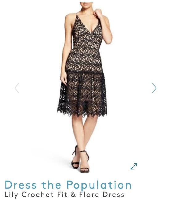 Dress the Population Black Lily Lace Mid-length Cocktail Dress Size 8 (M) Dress the Population Black Lily Lace Mid-length Cocktail Dress Size 8 (M) Image 1