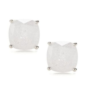 Kate Spade KATE SPADE Silver Plated White Sparkle Square Stud Earrings w/Dust Bag