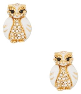 Kate Spade KATE SPADE 12K Gold Plated White Multi Star Bright Owl Stud Earrings