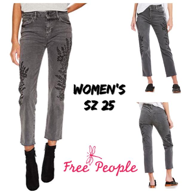 Item - Gray Embroidered Girlfriend Boyfriend Cut Jeans Size 0 (XS, 25)