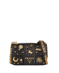 117ec9d52f0015 Prada Small Embellished Diagramme with Chain Strap Black Leather ...