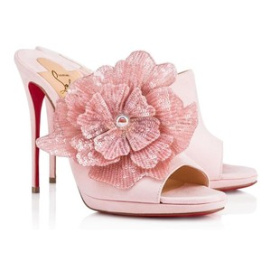 Christian Louboutin Suede Flower Pompadour, pink, light pink Mules