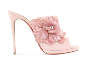 Christian Louboutin Suede Leather Sandal Pink Mules