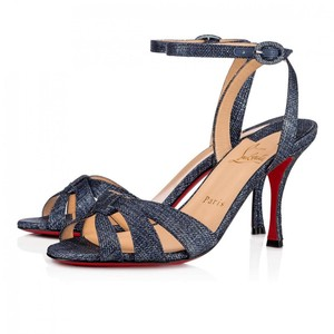Christian Louboutin Abstract Heel Low Heel denim, blue, jean, sparkle Sandals