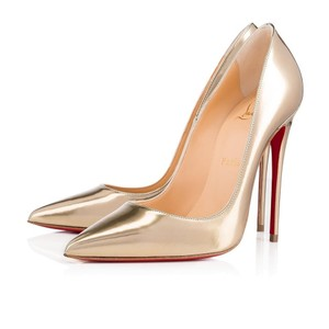 Christian Louboutin So Kate Nude Patent Leather Point-toe Heels Gold Pumps