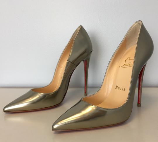Christian Louboutin So Kate Nude Patent Leather Point-toe Heels Gold Pumps Image 2