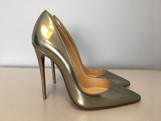 Christian Louboutin So Kate Nude Patent Leather Point-toe Heels Gold Pumps Image 3