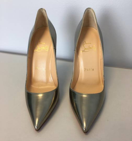 Christian Louboutin So Kate Nude Patent Leather Point-toe Heels Gold Pumps Image 4