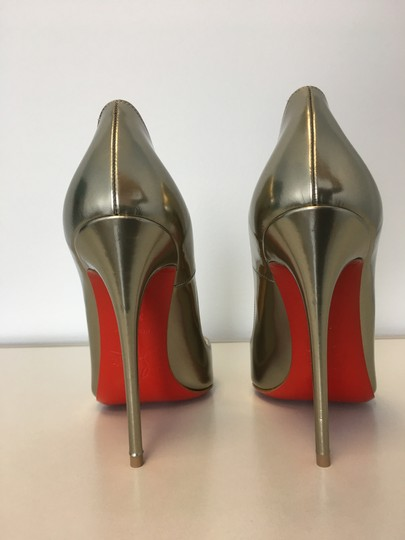 Christian Louboutin So Kate Nude Patent Leather Point-toe Heels Gold Pumps Image 7