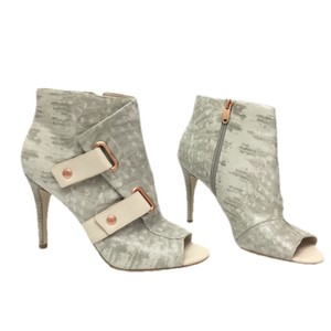 Rachel Roy Hardware Leather Open Toe White/Gray/Rose Gold Boots