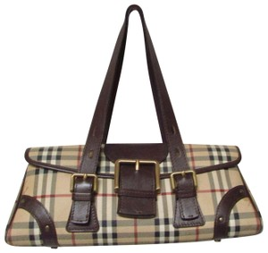 Burberry Classic Haymarket Check Small Satchel in Brown