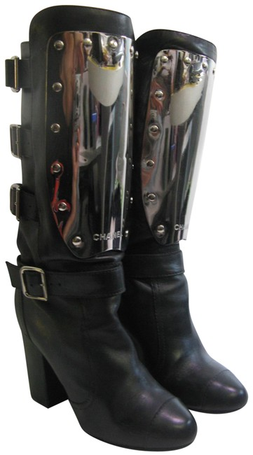 Chanel Plate Rock and Roll Punk Biker Motorcycle Boots/Booties Size EU 37.5 (Approx. US 7.5) Regular (M, B) Chanel Plate Rock and Roll Punk Biker Motorcycle Boots/Booties Size EU 37.5 (Approx. US 7.5) Regular (M, B) Image 1