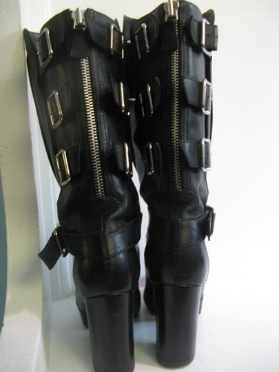 Chanel Biker Punk Motorcycle Buckles Leather Boots