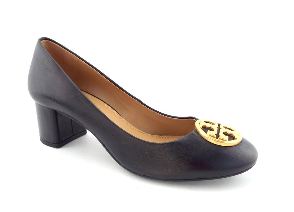 Tory Burch Block-heel Black Leather Logo Medallion Block-heel Burch Pumps fd1c11