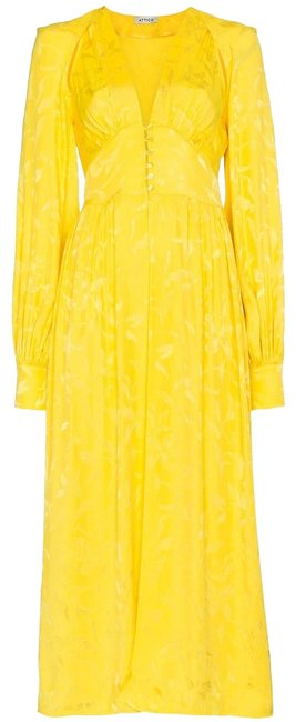 Attico Yellow Silk Blend Maxi Long Cocktail Dress Size 8 (M) Attico Yellow Silk Blend Maxi Long Cocktail Dress Size 8 (M) Image 1