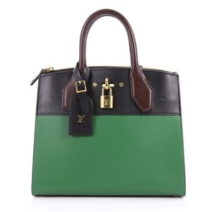 Louis Vuitton Leather Tote in Green, Black and Brown