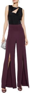 Cushnie et Ochs Fashion Silk Wide Leg Pants Maroon