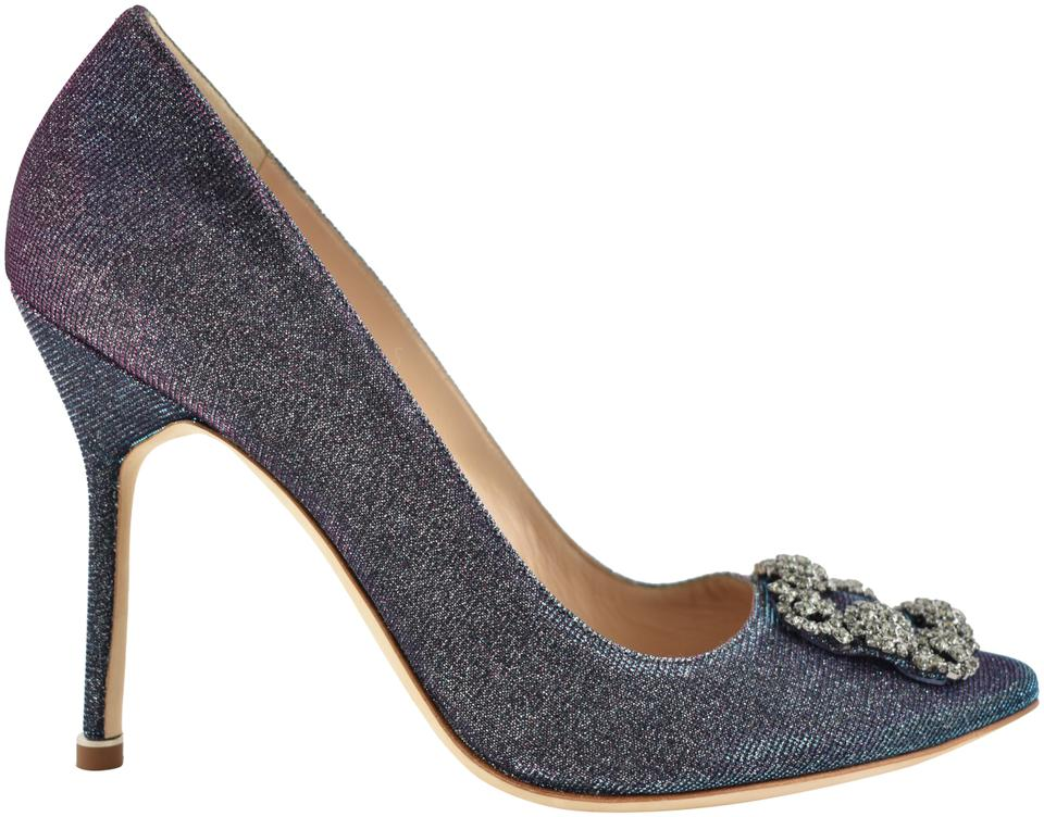 Manolo Blahnik Crystal Blue Hangisi 105 Midnight Glitter Fabric Pink Crystal Blahnik Embellished Heel Pumps ea1443