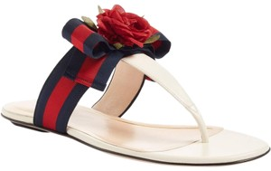 Gucci Flat Strappy Gladiator Rose white Sandals