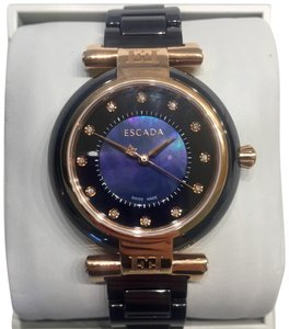 Escada Lauren Iridescent Black Ceramic and Rose Gold Diamond Watch