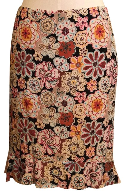 Item - Black/Multi Embroidery and Beading Skirt Size 4 (S, 27)