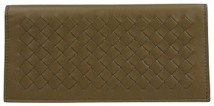 Bottega Veneta Light Brown Leather Woven Long Bifold Wallet 390878 2314