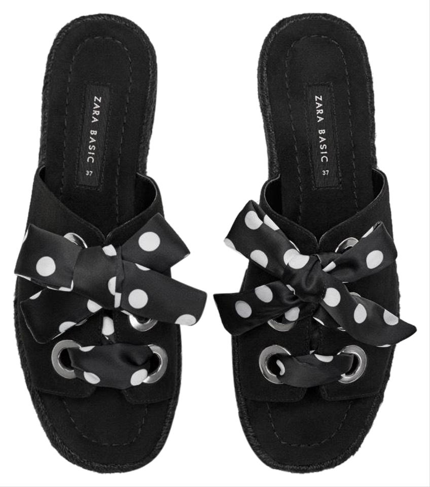 c7a7d38d071 Zara Black White Espadrilles with Polka Dot Laced Sandals Size US 10  Regular (M, B)