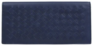 Bottega Veneta Navy Blue Leather Intercciaco Long Bifold Wallet 390878 4111